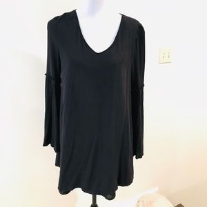 Black mini dress with bell sleeves